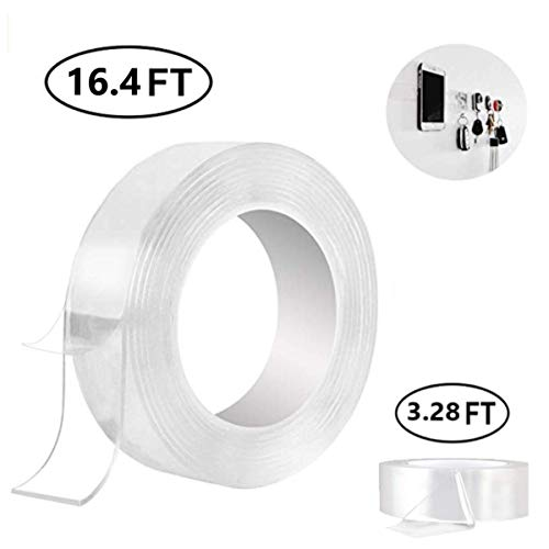 (Traceless Washable Adhesive Tape - Strong Adhesive Gel Grip Trip Tape Clear Transparent Removable Reusable Anti Slip Double Sided Nano Pads for Home Wall Room Office Décor 16.5 and 3.28 Ft By BOBOCAWA)