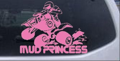 Mud Princess 4 Wheeler Off Road Car Window Wall Laptop Decal Sticker -- Pink 6in X 7.8in