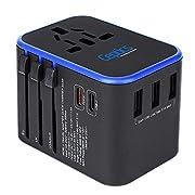 World International Travel Plug Adapter by Ceptics – Powerful 33.5W with Pd & QC 3.0 Dual USB-C Power – 3 USB Ports Wall…