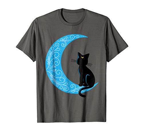 Black Cat Crescent Moon Sailor Mom T-Shirt