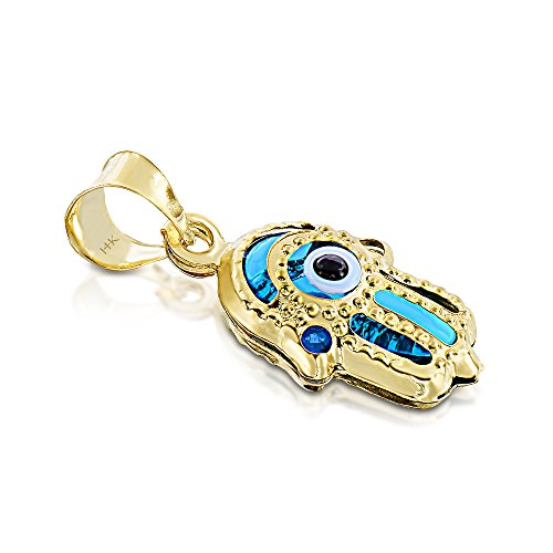 14 Karat Gold 3-D Hamsa And Evil Eye Pendant. (14K Solid Yellow Gold)