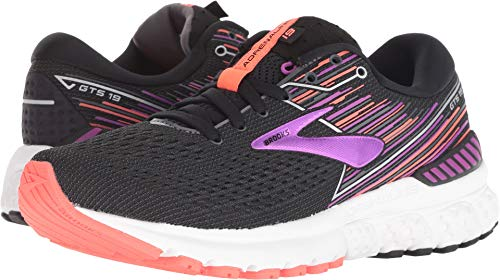 Brooks Women's Adrenaline GTS 19 Black/Purple/Coral 7 EE US