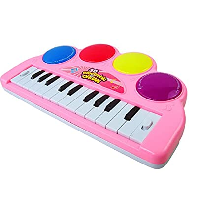 Kids Piano, WOLFBUSH Multi-function 3D Electronic Organ Music Keyboard Piano with Flash Light Kids Educational Toy Used for Family Gatherings Performances Entertainment - Color Random from WOLFBUSH