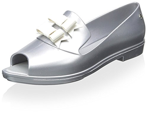 Melissa Women's Brogue Karl Lagerfeld Open Toe Loafer Slide Matte Silver