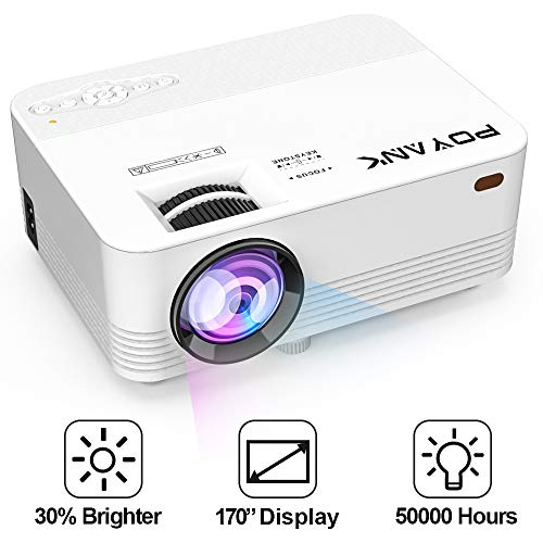 [Upgrade TV Projector] POYANK 2800Lumens LED Mini Projector- 50,000 Hours LCD Projector, Compatible with HDMI/VGA/AV/USB/SD/PS4/XBOX/TV Box/Roku/Fire TV Stick/Chromecast/Smartphone/Laptop/DVD