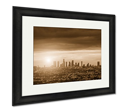 Ashley Framed Prints Sunrise Over Los Angeles City Skyline  Wall Art Home Decoration  Sepia  34X40  Frame Size   Black Frame  Ag6443584