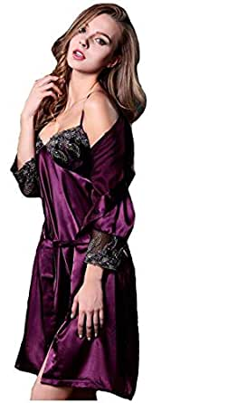 Comfortable Silk Materials And Two Pieces With Embroidered Pajama Set For Ladies
