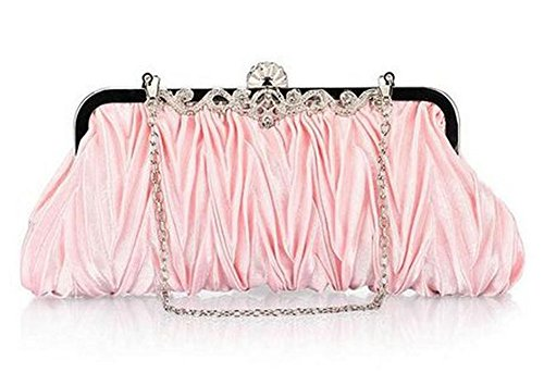 Pink Cocktail Strap Golden Clutch Shoulder Handbag Evening with Hosaire Detachable Purse Bag Satin Womens Wedding Chain Party F6qEaH