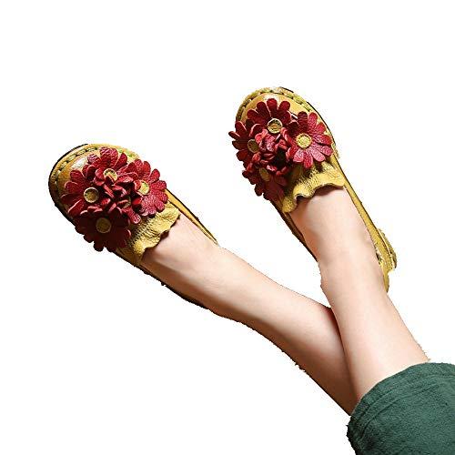 AIMENGA AIMENGA AIMENGA Planos Otoño Mujer Zapato Arte Plano Único PoE Amarillo d047fe
