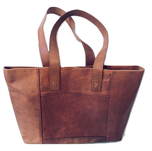 Women's Genuine Vintage Leather Soft Tote Bag Shoulder Bag Handbag, Everyday Bag for Gym, Travel, Work and Shopping Bag