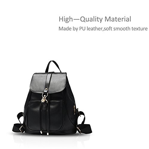new bag casual Travel leather schoolbag female trend NICOLE Black shoulder ladies style amp;DORIS pu bag backpack zq7OOS5T
