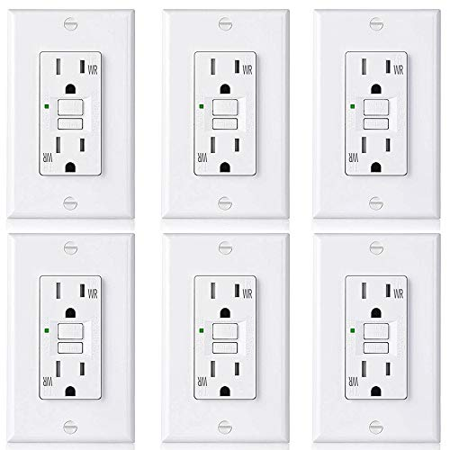 [6 Pack] BESTTEN 15A WR GFCI Outlet, Slim Outdoor Weather Resistant GFI, Tamper Resistant Receptacle with LED Indicator & Decor Wall Plate, TR Ground Fault Circuit Interrupter, UL Listed, White, USG5 by BESTTEN (Image #7)
