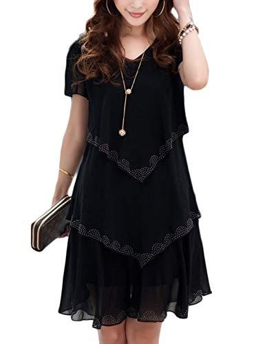 - Jenkoon Women's Chiffon Dresses Short Sleeve Round Neck Tiered Dress Blouse Top (Black-02, Small)