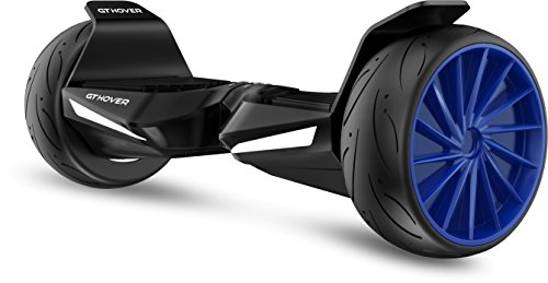 Hoverboard Two Wheel Electric Scooter UL2272 GT Hover GTS Bluetooth Speakers NO FALL TECHNOLOGY GT Hover APP - FREE Hardcase Bag - LG Firesafe Battery (Jet Black with Deep Blue Wheels)
