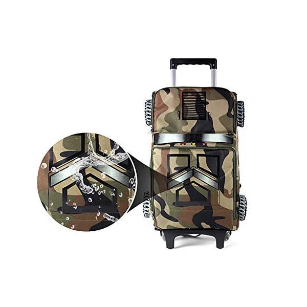 HWZ Borsa Arrotolabile Zaino Impermeabile 3D Ragazzo Trolley Scuola per La Scuola di Viaggio 6-12 Anni 4 spesavip