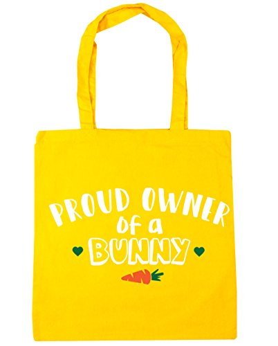 HippoWarehouse orgulloso propietario de un conejo bolsa de la compra bolsa de playa 42cm x38cm, 10litros amarillo