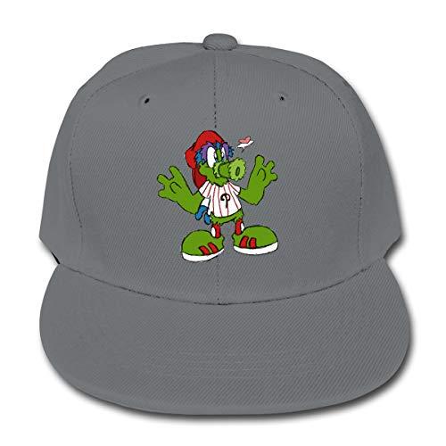 Philadelphia Baseball Fan Phillie Phanatic Kids Baseball Cap Washed Solid Sun Hat for Children Gray ()