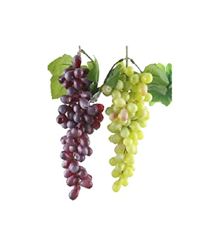 Ucoolbila 85pcs Artificial Grapes Home Decor Fake Plastic Grapes Wedding Party Christmas Artificial Flora, Red + Green, pack of 2