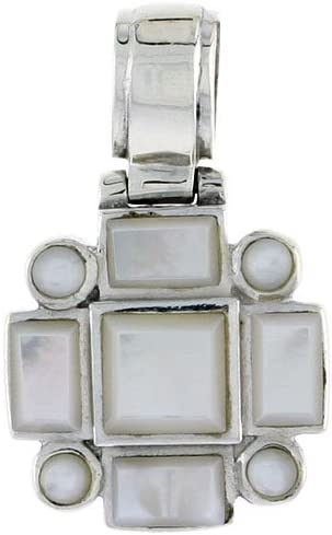 28mm tall 11//16 Sterling Silver Pendant Four 3mm Round /& Four 6 x 4 mm Rectangular Mother of Pearls w// 7mm Square