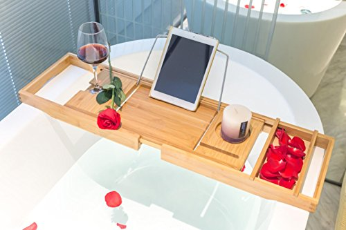 Bamboo Bathtub Caddy Tray Organizer with Extending Sides by BAMBUROBA
