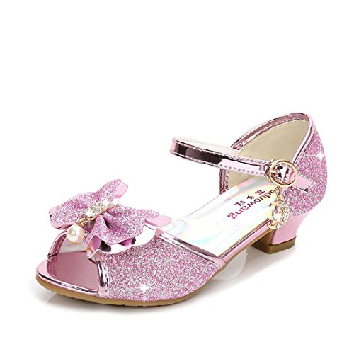Lilybell Rhinestone Knot Heel Sandals for Girls Size 11.5 M and up Wedge Performance Sequin Princess Sandals Dress Shoes Girls Platform Wedding Princess (Pink 29)