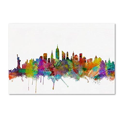 (New York City Skyline by Michael Tompsett, 16x24-Inch Canvas Wall Art)