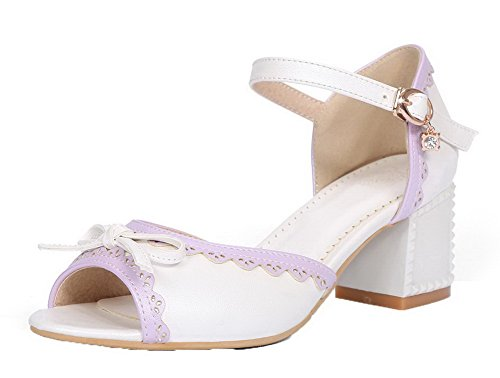 Buckle EGHLH004724 Women's Sandals Assorted Heels Peep White Toe WeiPoot Color Kitten 4XWzdqzH