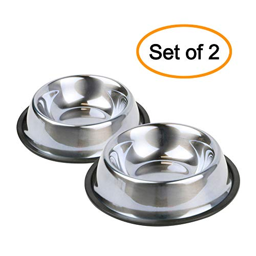 Nuheby Stainless Steel Cat Bowls Pet Food Feeder Dog Water Bowl Rubber Base Small Cats Kitty Dogs, Set of 2 (Small)