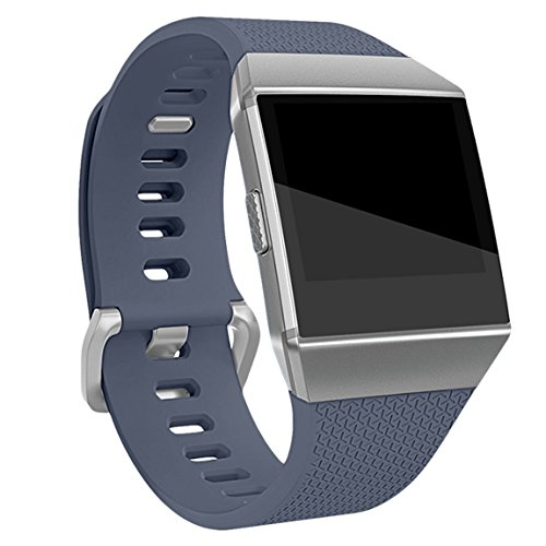 Maledan Replacement Bands Compatible with Fitbit Ionic Smart Watch for Women Men, Gray, Small