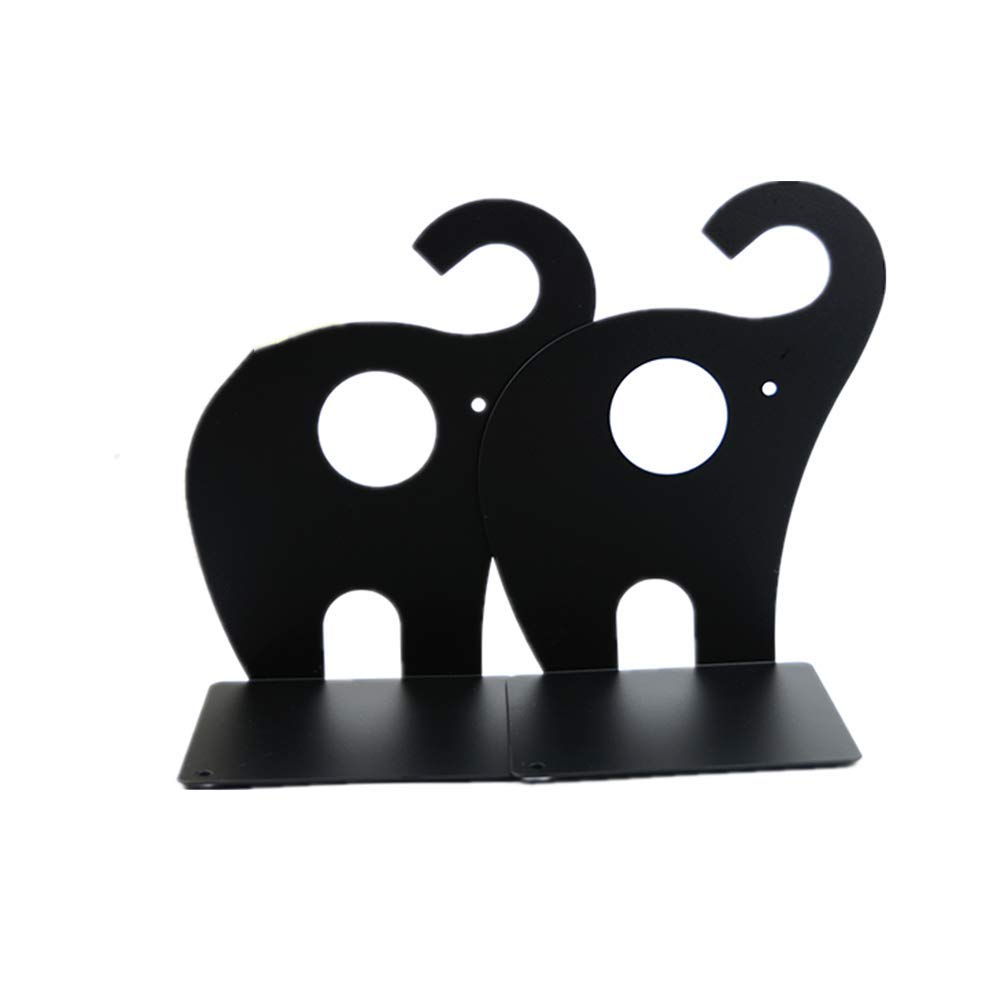 leoyoubei Vintage Bookends with Felt Pads to Protect Bookshelf Bookcase 7.5x5x475 Books Holder Elephant 1 Pairs (Black)