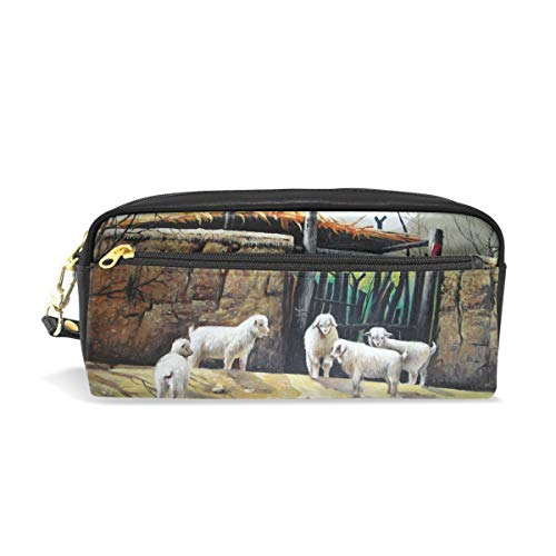 Unicey Oil Painting Sheep Pouch Case Women Makeup PU Leather Cosmetic Bags Kids School Portable Stationary Pencil Bag