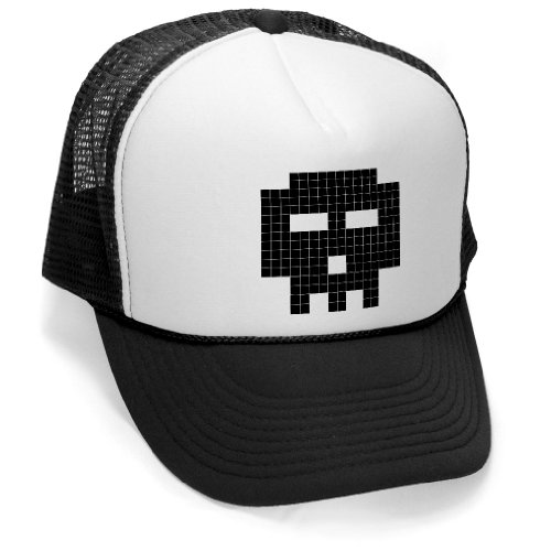 8-BIT SKULL - retro gamer gaming funny Mesh Trucker Cap Hat, Black