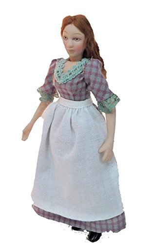 Melody Jane Dollhouse Victorian Serving Girl Miniature Woman Porcelain People Children Dollhouse Miniature