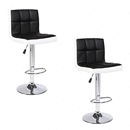 Surprising Mecor Adjustable Swivel Leather Bar Stools Hydraulic Counter Height Square Kitchen Dining Chairs With Chrome Base Set Of 2 Blackwhite Forskolin Free Trial Chair Design Images Forskolin Free Trialorg