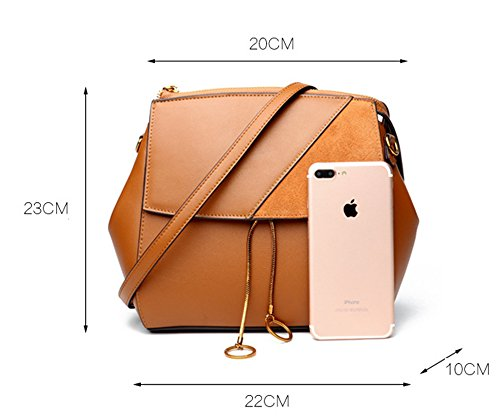 Hembra XinMaoYuan Otoño e Invierno bolsos de cuero Bolsos Bolso Messenger portátil Retro Color caramelo