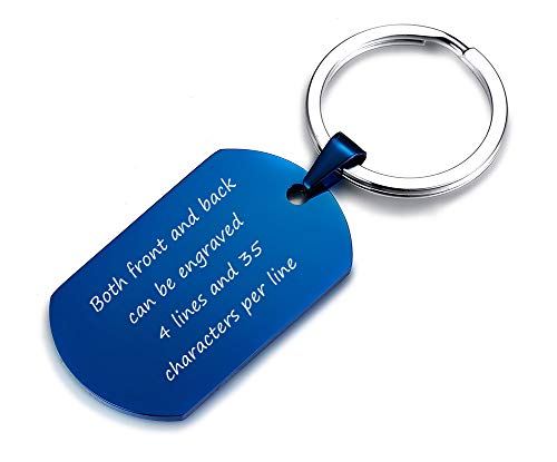 VNOX Customize Blue Stainless Steel Dog Tag Pendant Keychain Keyring,Military Gift for Men Boy