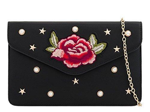 Small Noir haute Sac Rouge broderie à florale cuir simili 'S EMBELLISSEMENT DIVA pour pochette émaillé main NEUF Femmes UxwBUaTrq