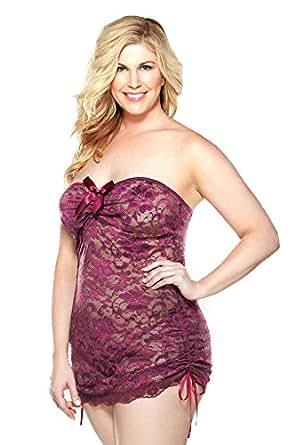 Amazon.com: Fantasy Lingerie Women's Plus-Size Lace ...