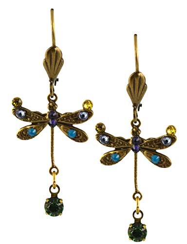 - Anne Koplik Dragonfly Earrings, Jonquil/Fern Green Gold Plated Dangle with Jeweled Drop