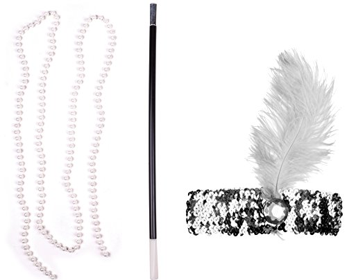 Great Gatsby Costume Cigarette Holder Flapper Style Headpieces Women Silver White (Old People+halloween Costume Ideas)