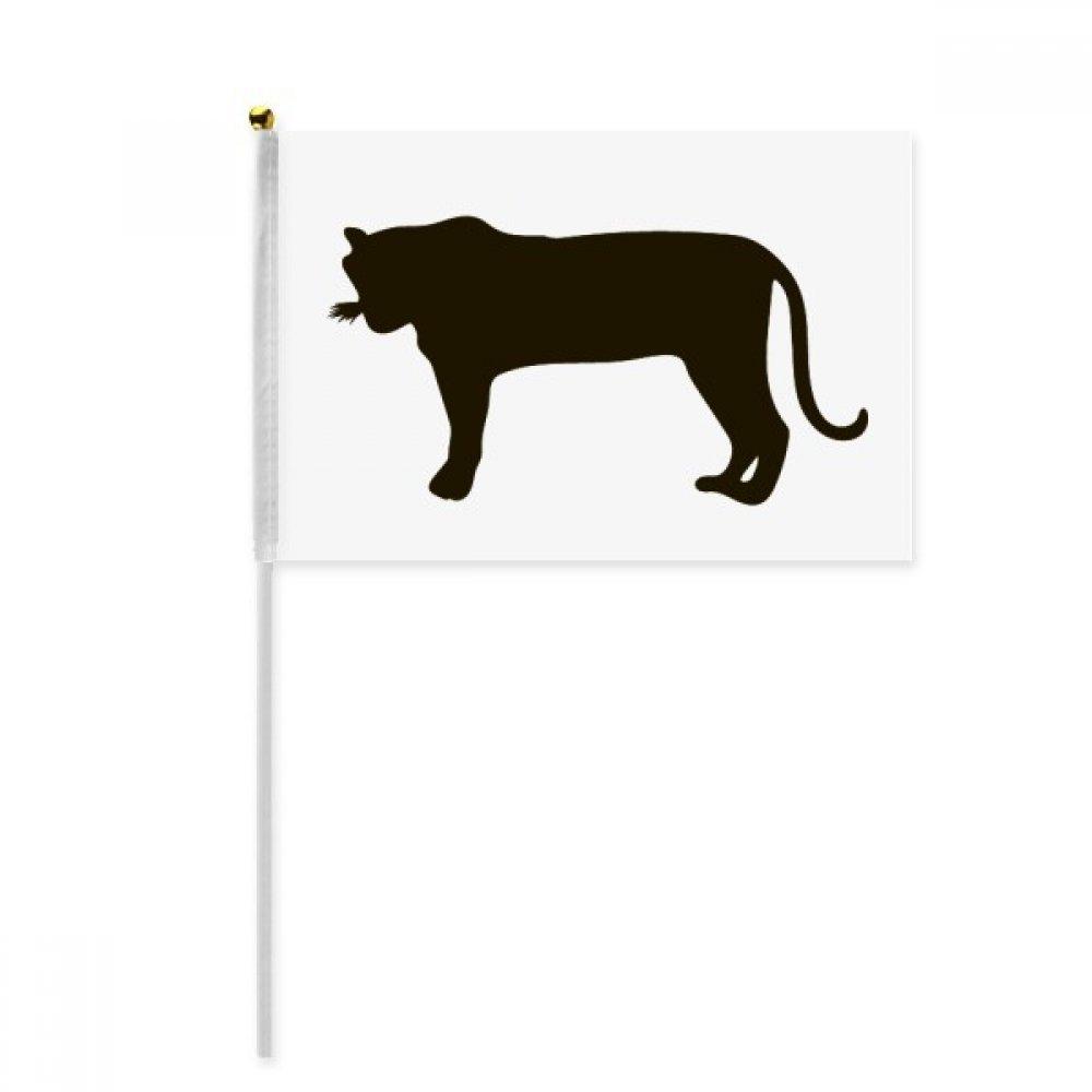Black Tiger Animal Portrayal Hand Waving Flag 8x5 inch Polyester Sport Event Procession Parade 4pcs