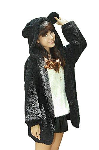 Landove Girls Cute Warm Teddy Bear Hood Coat Ear Pocket Fleece Jacket Sweatshirt Sweater, Black, One Size Teddy Bear Adult Sweatshirt