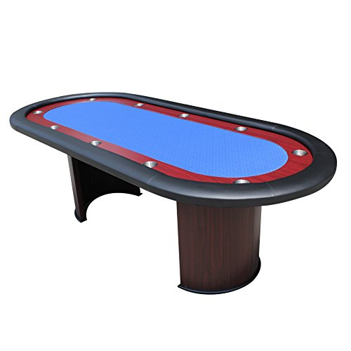 IDS Poker Texas Hold'em Poker Table for 96 x 43 Inch Oval 10 Players Blue High Speed Racetrack Cup Holders Wooden Legs