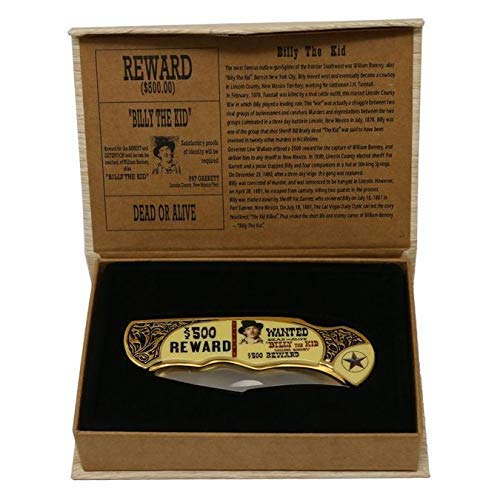 Monogram Knife, Custom Knives, Collector Knife, Personalized Knife, Engraved Knives, Billy The Kid Memorabilia Knife w/Collection Box (Billy The Kid)