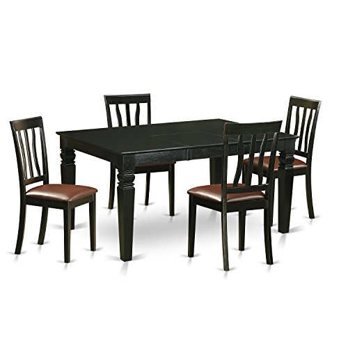 East West Furniture WEAN5-BLK-LC 5 Piece Table and 4 Chair