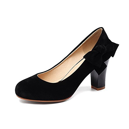 Frosted Womens Pumps Toe Bowknot Black Shoes Round BalaMasa Metal vSdwXFxqOO