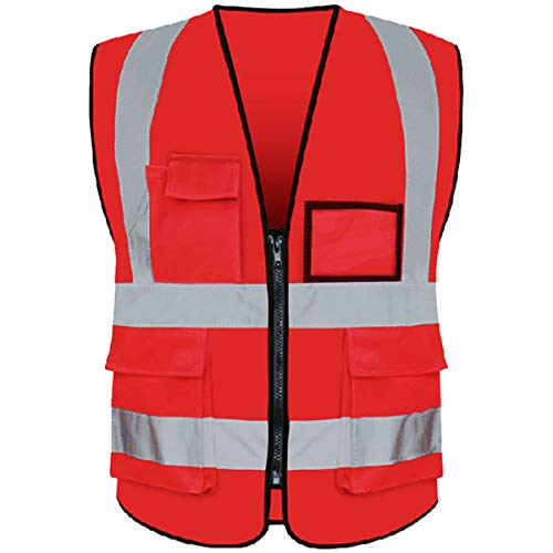 (Reflective Safety Vest ANSI Class 2 High Visibility with 5 Pockets and Zipper XL 2XL Red)
