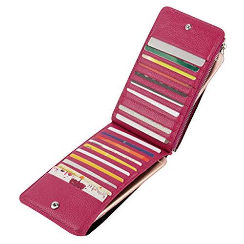 Noedy RFID Blocking Womens Genuine Leather Slim Multi Card Organizer Wallet with Zip Pocket Purple (Card Credit 20 Wallet)