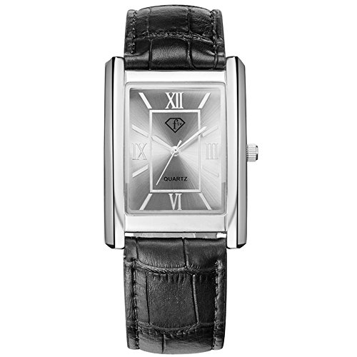 Men Quartz Rectangle Watches Leather Strap Roman Number Simple Design Wristwatch Business - Rectangle Watch Mens