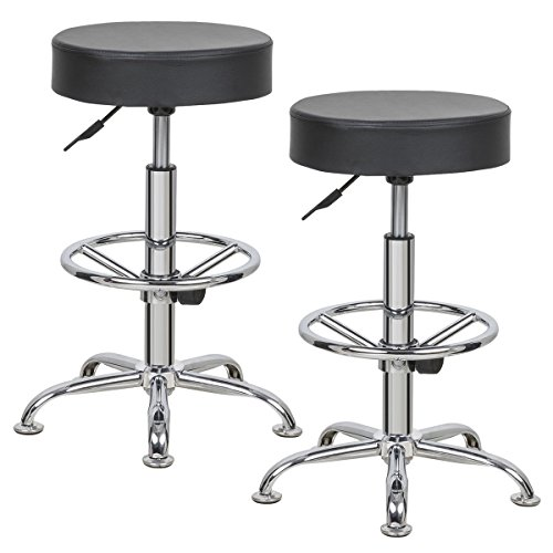 Price comparison product image Costway Round Height Adjustable Bar Stools Swivel Chairs Set of 2